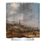 View Of The Beach At Scheveling Shower Curtain