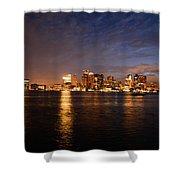 View Of The Boston Waterfront At Night Shower Curtain