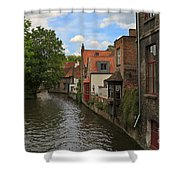 View Of The Canal From Maria Brug On Katelijnestraat In Bruges Shower Curtain