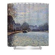 View Of The Canal Saint-martin Paris Shower Curtain