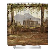 View Of The Castel Nuovo And Vesuvius From A Pergola Shower Curtain