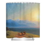 View Of The Caucasus With Mount Kazbek In The Distance Shower Curtain