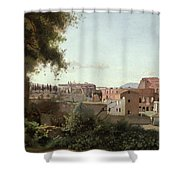 View Of The Colosseum From The Farnese Gardens Shower Curtain by Jean Baptiste Camille Corot