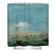 View Of The Giudecca Canal And The Zatter Shower Curtain