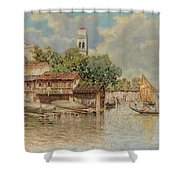 View Of The Gondola Shipyard In San Trovaso Shower Curtain
