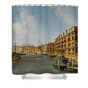 View Of The Grand Canal Venice With The Fondaco Dei Tedeschi Shower Curtain