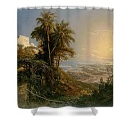 View Of The Harbor Of Puerto Cabello, Study Shower Curtain