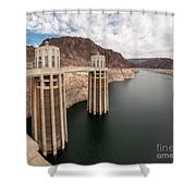 View Of The Hoover Dam Lake With Low Water Reserves Shower Curtain