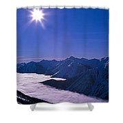 View Of The Kicking Horse Resort Shower Curtain