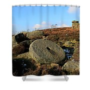 View Of The Mother Cap Gritstone Rock Formation, Millstone Edge Shower Curtain