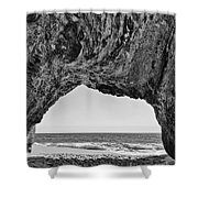 View Of The Natural Tunnel Of Hole In The Wall Beach Shower Curtain
