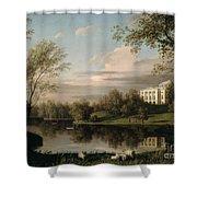 View Of The Pavlovsk Palace Shower Curtain by Carl Ferdinand von Kugelgen