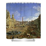 View Of The Piazza Navona Shower Curtain