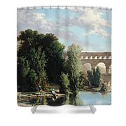 View Of The Pont Du Gard Shower Curtain