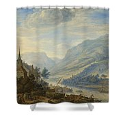 View Of The Rhine River Near Reineck Shower Curtain