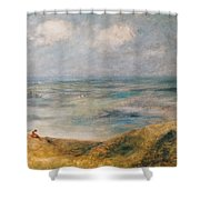 View Of The Sea Guernsey Shower Curtain by Pierre Auguste Renoir