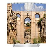 View Of The Tajo De Ronda And The Puente Nuevo Bridge From Across The Valley Shower Curtain