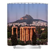 View Of The Temple Of Olympian Zeus And Mount Lycabettus In The  Shower Curtain