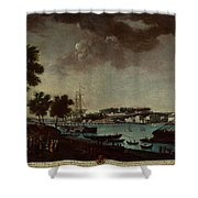 View Of The Town And Port Of Bayonne Shower Curtain