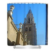 View Of Toledo Cathedral In Sunny Day, Spain. Shower Curtain