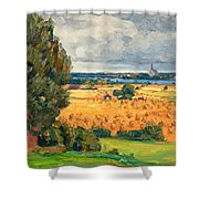 View Of Vadstena From The Surrounding Fields Shower Curtain