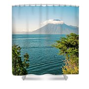 View Of Volcano San Pedro With A Crown Of Clouds In Guatemala Shower Curtain
