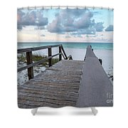 View Of White Sand And Blue Ocean From Wooden Boardwalk Shower Curtain