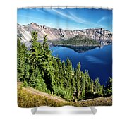View Of Wizard Island Crater Lake Shower Curtain