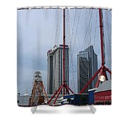 View Oftajmahal Hotel Atalantic City America From The Play Ground Family Entertainment Centre Beach Shower Curtain