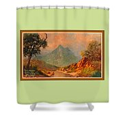 View On Blue Tip Mountain H A With Decorative Ornate Printed Frame. Shower Curtain