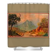 View On Blue Tip Mountain H B With Decorative Ornate Printed Frame. Shower Curtain