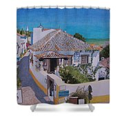 View On Obidos Shower Curtain