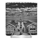 View Over The Pier Mono Shower Curtain
