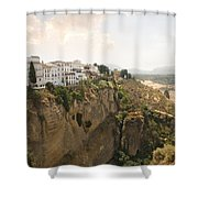 View Over The Tajo Gorge Ronda Home Of Bullfighting Shower Curtain
