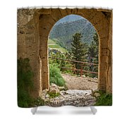 View Through The Castle Door Shower Curtain
