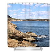 View To Sand Beach Shower Curtain