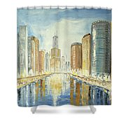 View Up The Chicago River Shower Curtain