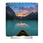 Viewing Snowy Mountain In Rising Sun From A Canoe Shower Curtain