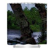 Viewing Tahquamenon Lower Falls Upper Peninsula Michigan Panorama 02 Shower Curtain