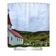 Vik Church And Cemetery - Iceland Shower Curtain