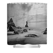 Vik Iceland Bw Shower Curtain