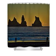 Vik Sea Stacks At Dusk - Iceland Shower Curtain