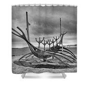 Viking Ship Sculpture Shower Curtain