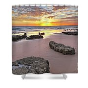 Gale Beach At Sunset. In Algarve Shower Curtain