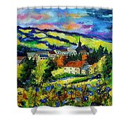 Village And Blue Poppies  Shower Curtain