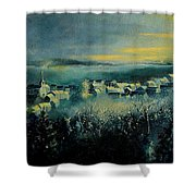 Village In A Misty Morning  Shower Curtain
