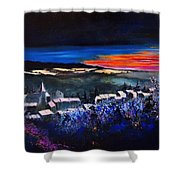 Village In A Winter Morninglight Shower Curtain