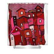 Village In Pink Shower Curtain
