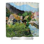 Village In The Austrian Alps Shower Curtain