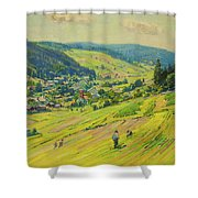Village In The Foothills Shower Curtain
